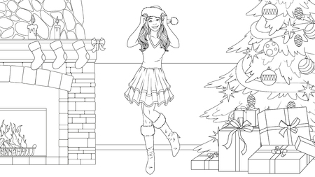 illustration coloring book, beautiful girl with a gift for Christmas.