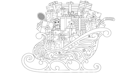 Vector illustration coloring book, sleigh with christmas gifts, on white background  イラスト・ベクター素材