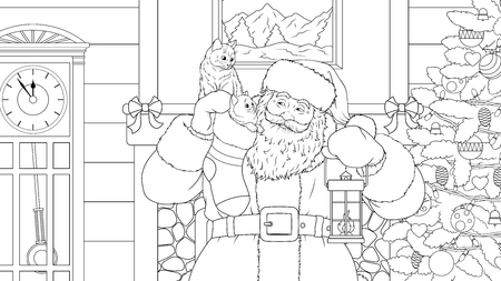 Vector illustration coloring, Santa Claus brought gifts on Christmas night, the cats got into a sock