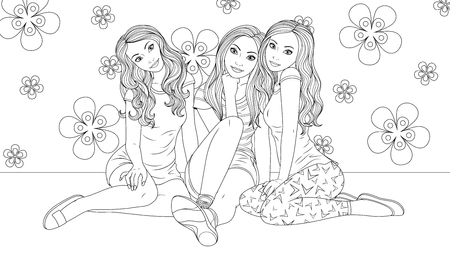 Vector illustration of coloring book, three beautiful girls are sitting together, friends  イラスト・ベクター素材