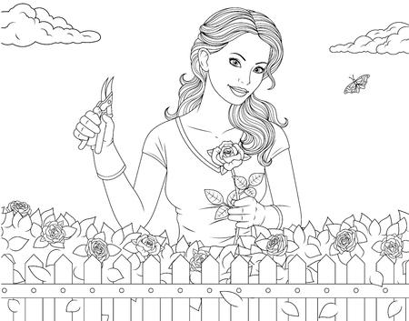 Pagina da colorare di illustrazione vettoriale, bella ragazza si prende cura delle rose in giardino