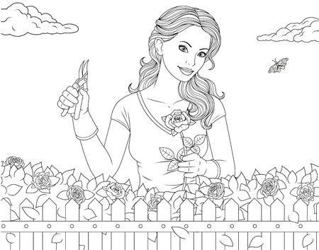 Vector illustration coloring page, beautiful girl is caring for roses in the garden Vettoriali