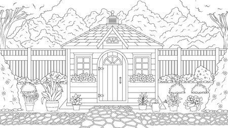 Vector illustration coloring book, garden house in the summer garden, among flowers and trees