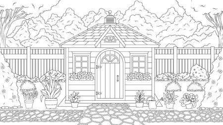 Wektor ilustracja kolorowanka, domek ogrodowy w letnim ogrodzie, wśród kwiatów i drzew