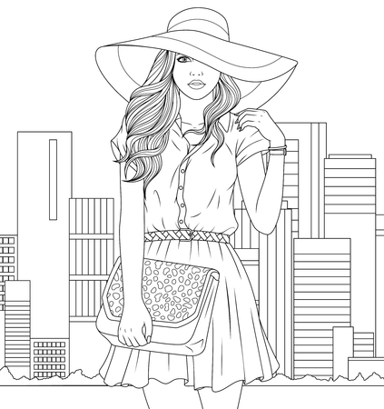 Vector illustration of coloring book, beautiful girl in fashionable hat with glamorous handbag.  イラスト・ベクター素材