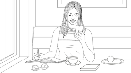 illustration coloring book, beautiful girl has breakfast in a cafe, looks at the phone, writes a message in notebook.