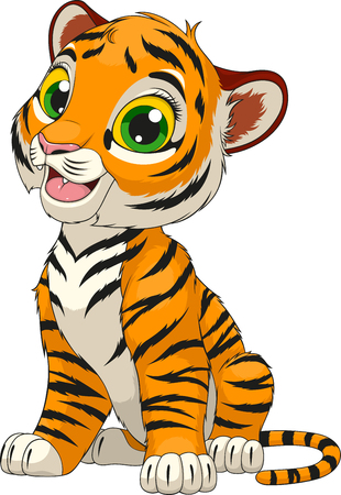 illustration of an funny cheerful tiger sitting sits over white background