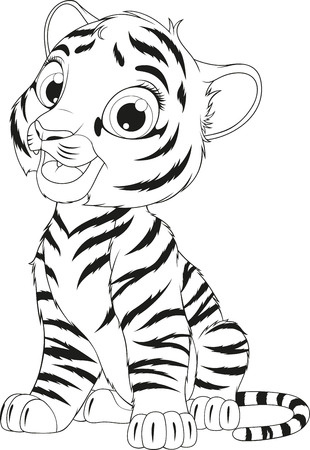 illustration coloring of an funny cheerful tiger sitting sits over white background Vectores