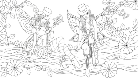 illustration of coloring book, two beautiful fairy girls sitting on a tree on  St. Patrick Day  イラスト・ベクター素材