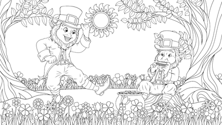 illustration of coloring book, two cheerful dwarfs are having fun in front of a treasure pot on  day of St. Patrick
