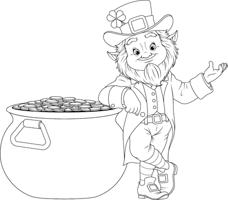 illustration of coloring book, cheerful gnome liprikon stands with a big pot of treasure on  day of St. Patrick