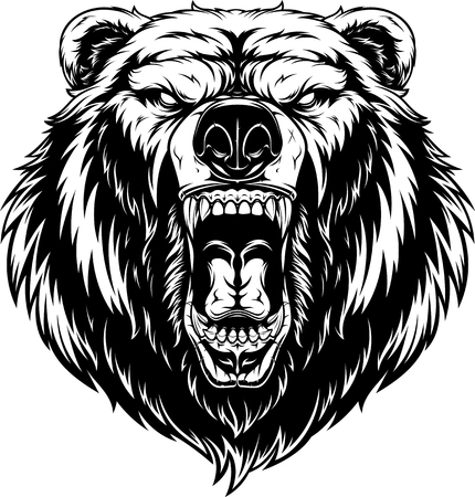 illustration, head of a ferocious grizzly bear, contour on a white background  イラスト・ベクター素材
