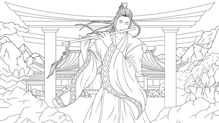 Vector illustration coloring book, oriental man samurai playing flute in the mountains  イラスト・ベクター素材