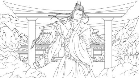 Vector illustration coloring book, oriental man samurai playing flute in the mountains Ilustração
