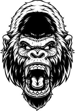 illustration, ferocious gorillas head screaming, black contour on white background.