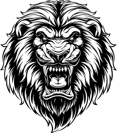 illustration, head of a ferocious lion, black contour on a white background