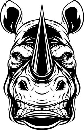 Vector illustration, head of a ferocious rhino, black contour on white background