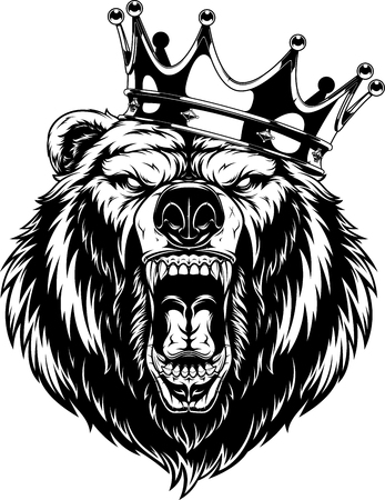 illustration, head of a ferocious grizzly bear wearing a crown, black outline on a white background Illustration