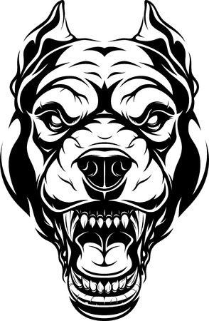 illustration, head of a ferocious pit bull growls, black contour on white background.  イラスト・ベクター素材