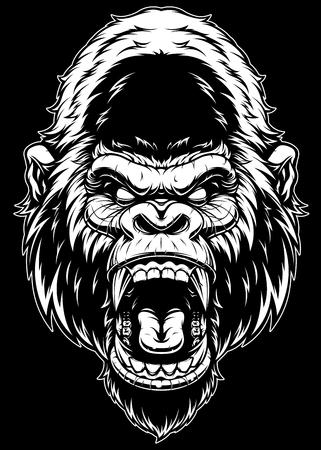 ferocious gorilla head, on a black background.  イラスト・ベクター素材