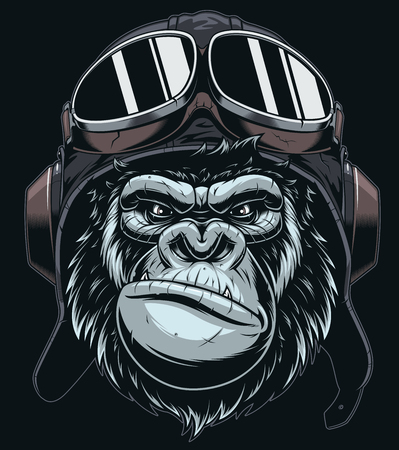 the head of a gorilla wears a military pilots helmet with glasses, comics on a black background.