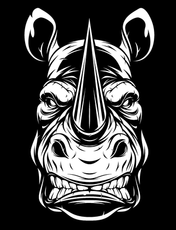 the head of a ferocious rhino on a grins black background
