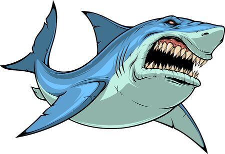 Vectorillustratie, woeste haaienaanvallen, op witte achtergrond.