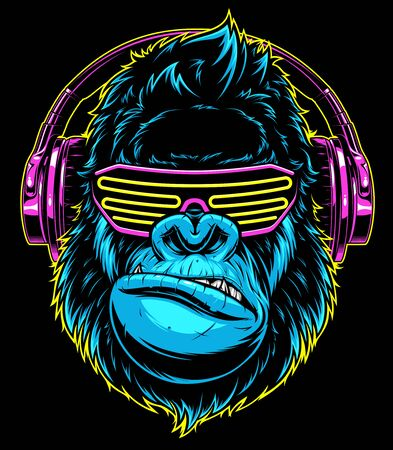 gorila divertido escuchando música en auriculares, DJ con estilo. Ilustración de vector