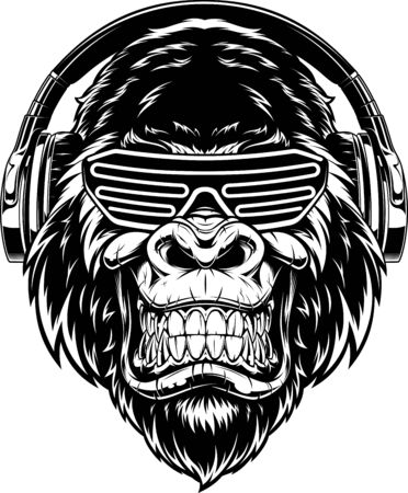 Vector illustration. funny gorilla listening to music on headphones, stylish DJ