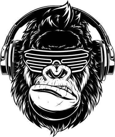 Illustrazione vettoriale. gorilla divertente che ascolta musica con le cuffie, DJ alla moda