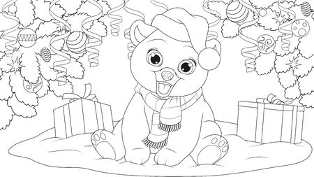 Vector illustration, Teddy bear under the Christmas tree in a hat and scarf, coloring