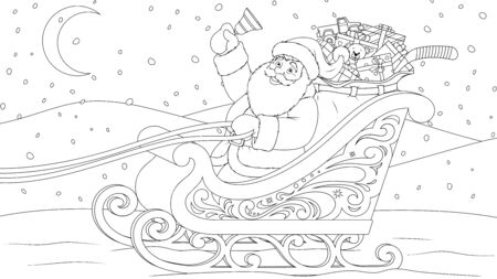 Vector illustration, Santa Claus in a sleigh carrying gifts in a bag under the moon Banque d'images - 134691586