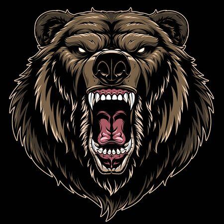 Illustrazione vettoriale, testa di un feroce orso grizzly, su sfondo nero