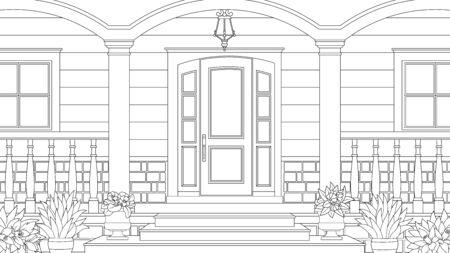 Illustration vectorielle, porche avec des fleurs d'une maison de campagne