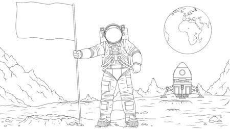 Vector illustration, astronaut on the moon sets the flag