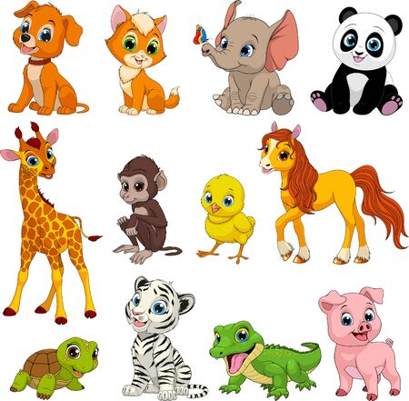 Vector illustration set of funny exotic animals on a white background.