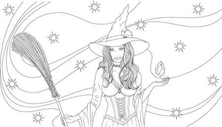 Vector illustration, beautiful witch with a broom conjures, magic night halloween, coloring. Illustration