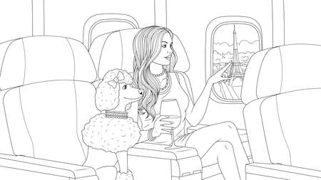 Vector illustration, beautiful girl flies on a plane over Paris with a dog, travels, coloring book. Illustration