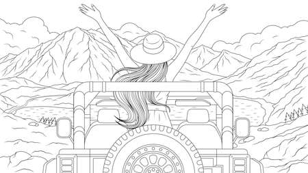Vector illustration, Girl travels by car in the mountains, coloring book 일러스트