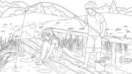 Vector illustration, children catch fish on the river bank, coloring book. Illustration