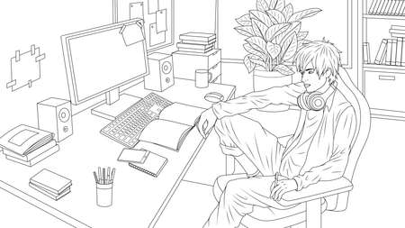 Vector illustration, student guy sitting at the computer is engaged in programming, coloring book 向量圖像