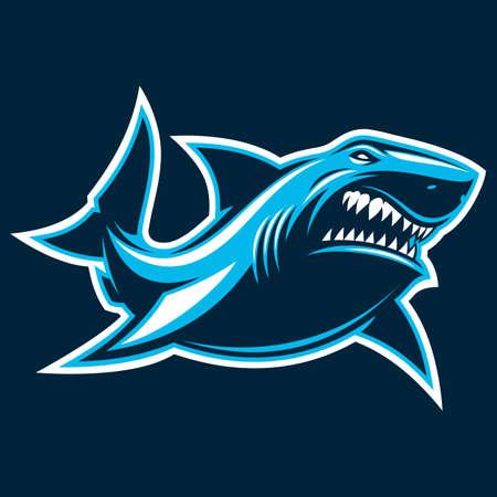 Vector illustration, great white ferocious shark, silhouette on a dark background