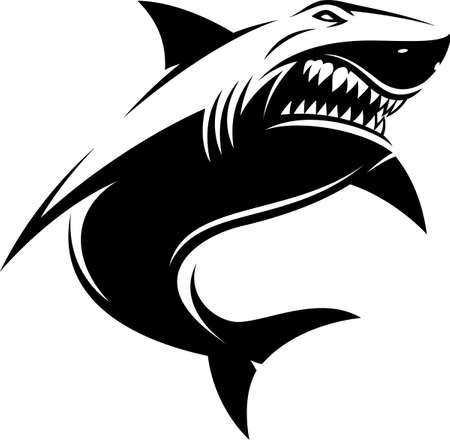 Vector illustration, great white ferocious shark, on a white background Illusztráció