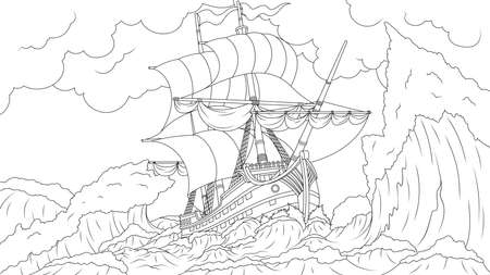 Old ship sailing in a storm, wrecked, coloring book.
