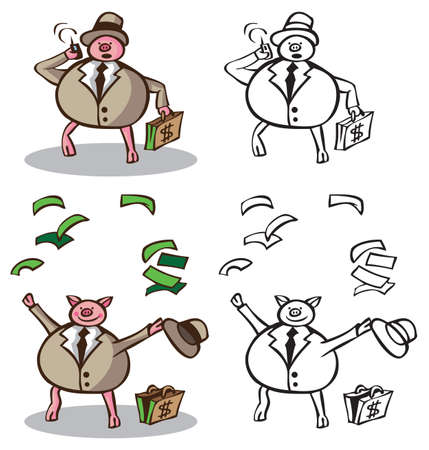 magnate: illustration on white background pig rich businessman calling on the phone and puts the money up.