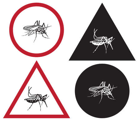 token: token with illustration of an insect a mosquito on a white background Illustration