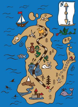 isla del tesoro: Mapa del pirata de la isla del tesoro ilustración de color con el esquema de la carretera Vectores