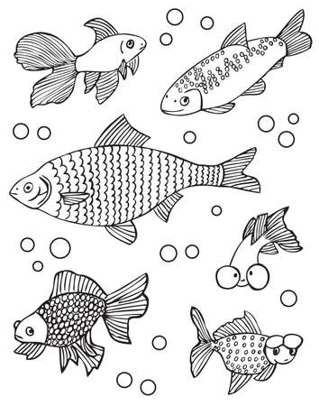 crucian: Drawing on a white background bubbles and aquarium fishes gold fish and other