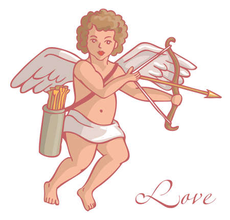 quiver: Illustration on white background Cupid with arrows and quiver flies