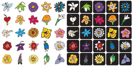 bud: illustration icons Bud flowers on a black and white background